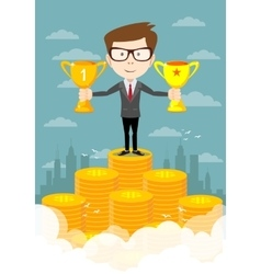 Success businessman standing in a podium vector