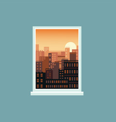 sunset window view to city landscape vector image