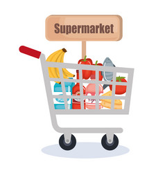 supermarket shopping cart with products vector image