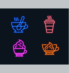 takeaway cappuccino cream and tea cup icons vector image