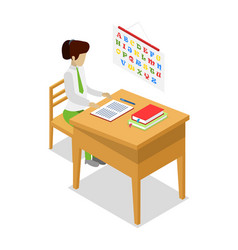 Teacher teaching language isometric 3d icon vector