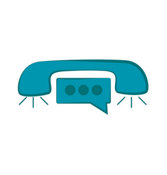 telephone icon with chat bubble vector image