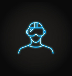 virtual reality headset icon in neon style vector image