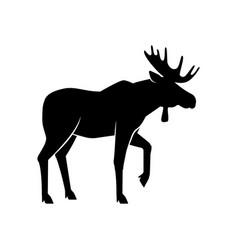 wild animals moose black silhouette on white vector image