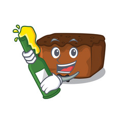 With beer brownies mascot cartoon style vector