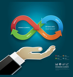 Businessman hand and Infinity symbol vector image