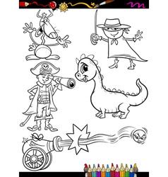 fantasy set cartoon coloring page vector image vector image
