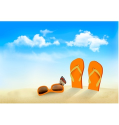Flip flops sunglasses and a butterfly on a beach vector image vector image