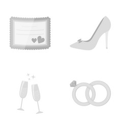 invitation bride s shoes champagne glasses vector image vector image