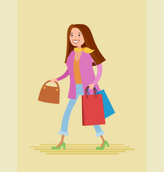 young woman are shopping vector image