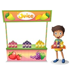 A boy selling fruit juices vector image vector image