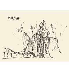 Batu Caves statue Malaysia drawn sketch vector image vector image