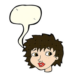 cartoon surprised woman with speech bubble vector image vector image
