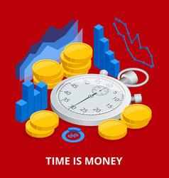 time is money concept balancing time and money vector image