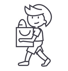 boy with shopping bag line icon sign vector image