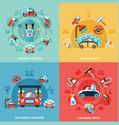 car wash compositions set vector image vector image