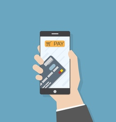 Hand smartphone pay credit card vector image