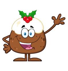 happy christmas pudding cartoon character vector image vector image