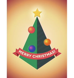 Retro styled geometric christmas tree with baubles vector image