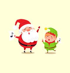 santa elf cartoon characters singing carol songs vector image