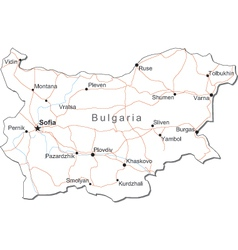 Bulgaria Black White Map vector image vector image