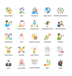 Business management and vision flat icons vector