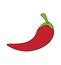 colorful silhouette chili pepper mexican vegetable vector image