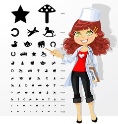 Doctor shows children table for eye tests vector image vector image