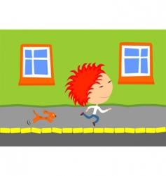 dog chasing kid vector image