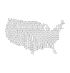 Usa map of radial halftone dots vector