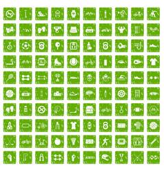 100 sport icons set grunge green vector
