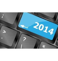 2014 new year keyboard key button close-up vector image
