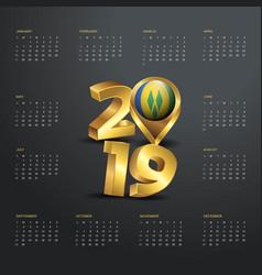 2019 calendar template golden typography vector