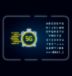 5g fast speed connection neon light icon high vector