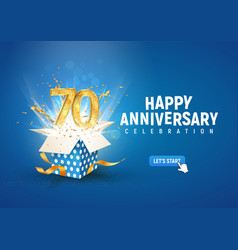 70 th years anniversary banner with open burst vector