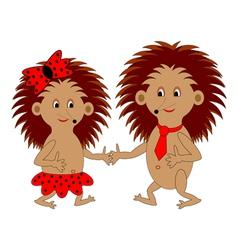 A couple of funny cartoon hedgehogs vector image
