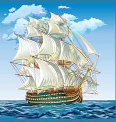 A medieval sailing ship vector