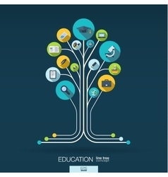 Abstract education background Growth tree concept vector