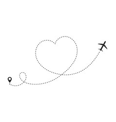 Airplane route in heart shape romantic travel vector