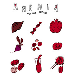 Anemia icons vector
