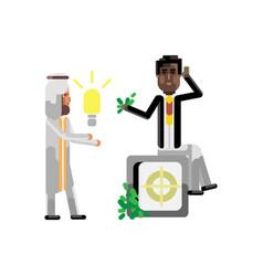 Arabic businessman holding idea light bulb vector