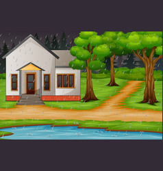 Background scene with house by the lake in the rai vector