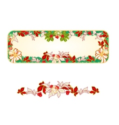 Banner Christmas Spruce and with white bows and po vector image vector image