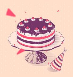 birthday cake with strawberries vector image
