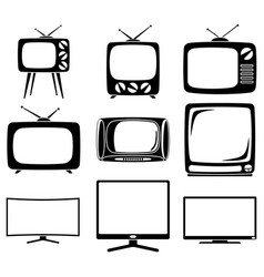black and white 9 element tv silhouette set vector image