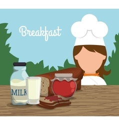 breakfast girl chef milk jam toast landscape vector image vector image