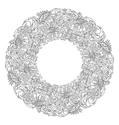 Bridal wreath of fantasy flowers and leaves vector