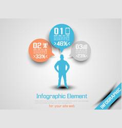 business man infographic option three 6 orange vector image