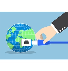 Businessman connecting plug into the world vector image