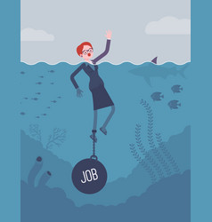 Businesswoman drowning chained with a weight job vector